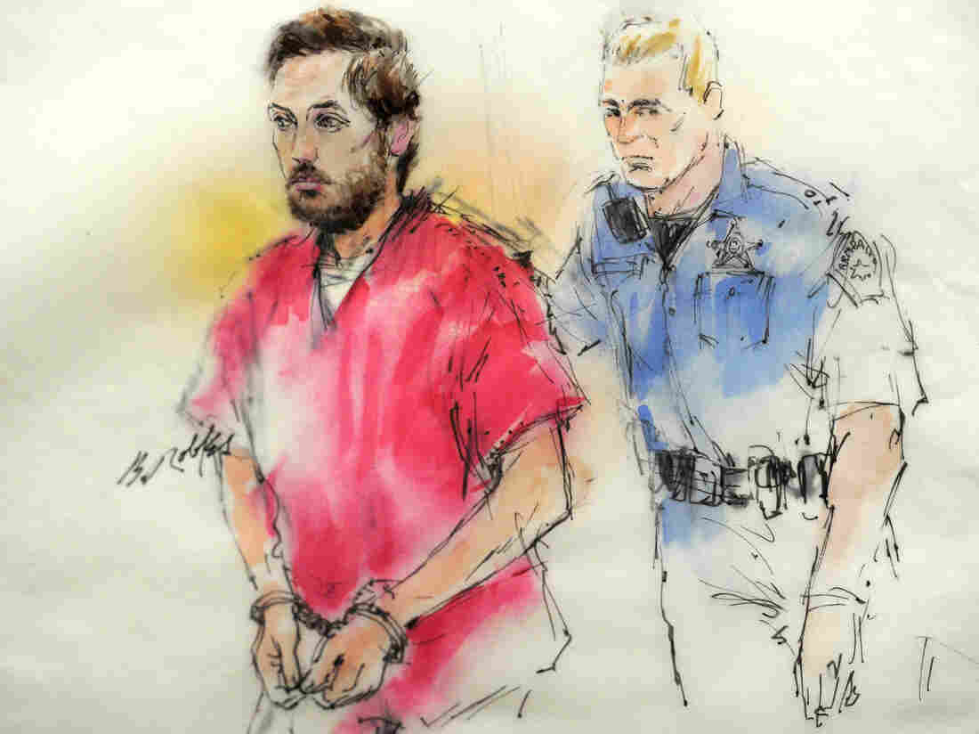 A courtroom sketch of James Holmes as he was brought into a courtroom in Centennial, Colo., this week.