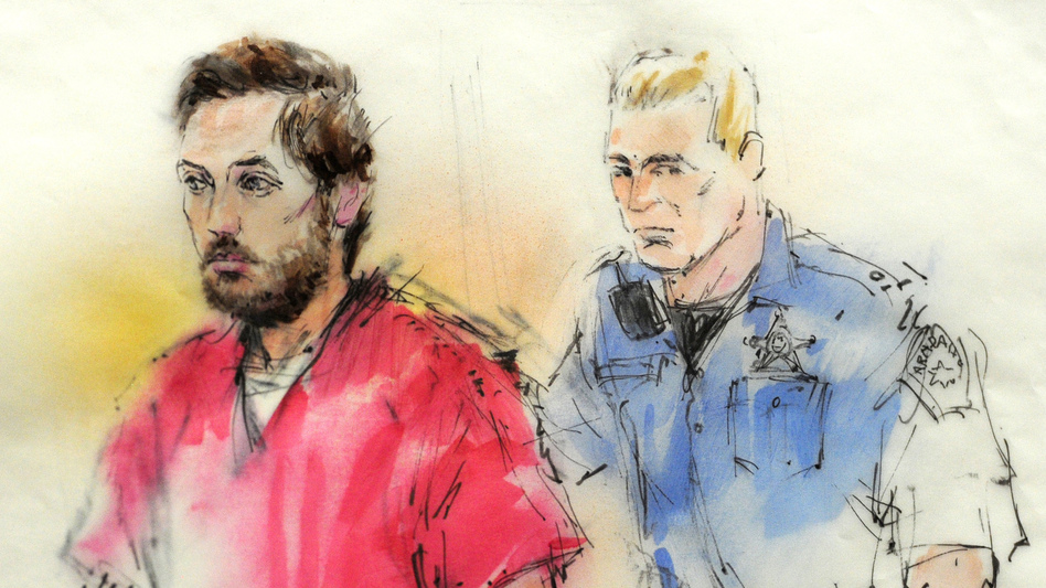 A courtroom sketch of James Holmes as he was brought into a courtroom in Centennial, Colo., this week. (Reuters /Landov)