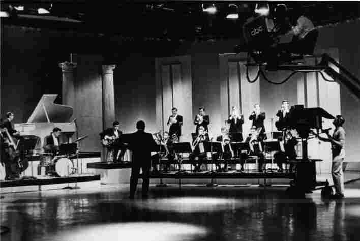 The One O'Clock Lab Band, the top jazz orchestra at the school now known as the University of North Texas, performs in front of ABC network cameras.
