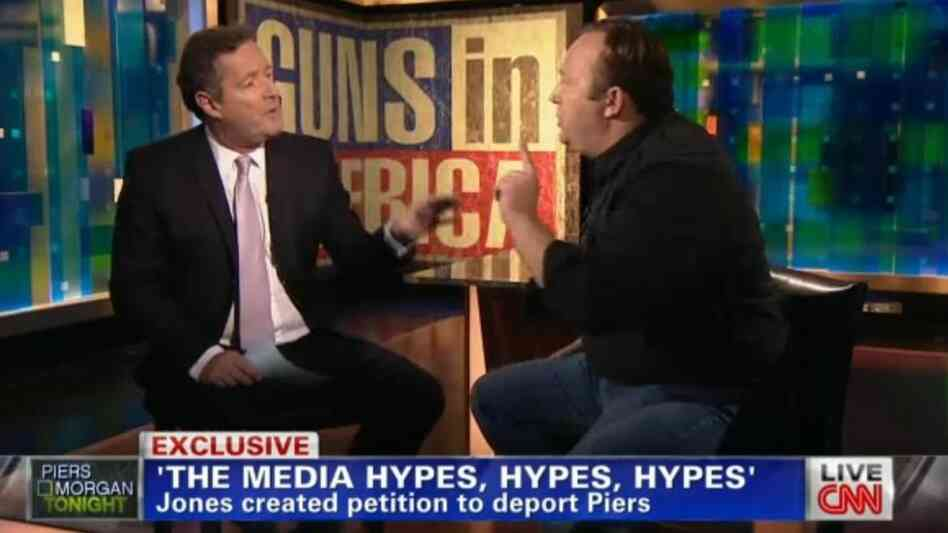 Piers Morgan, left, and Alex Jones on Monday night.