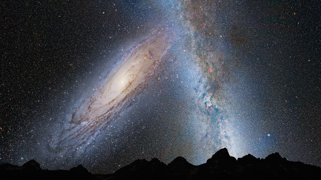 An illustration shows the Earth's night sky 3.75 billion years from now, with the Andromeda galaxy (left) beginning to distort our own Milky Way as the two collide. While galactic collisions are eye catching, could something bigger be just over the horizon? (NASA/ESA)