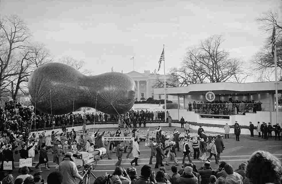 A peanut-shaped float passes by the reviewing stand at the inaugural parade for President Jimmy Carter in 1977.