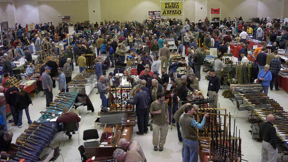 Gun enthusiasts flock to the New Eastcoast Arms Collectors Associates Arms Fair in March 2012 in Saratoga, N.Y. Some local residents would like the