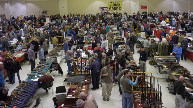 Gun enthusiasts flock to the New Eastcoast Arms Collectors Associates Arms Fair in March 2012 in Saratoga, N.Y. Some local residents would like the next show to be canceled, in light of the Newtown, Conn., school shootings. (Courtesy of The Saratogian)