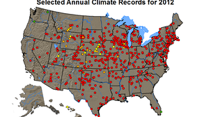 The red dots are places that last year set records for average annual high temperatures.
