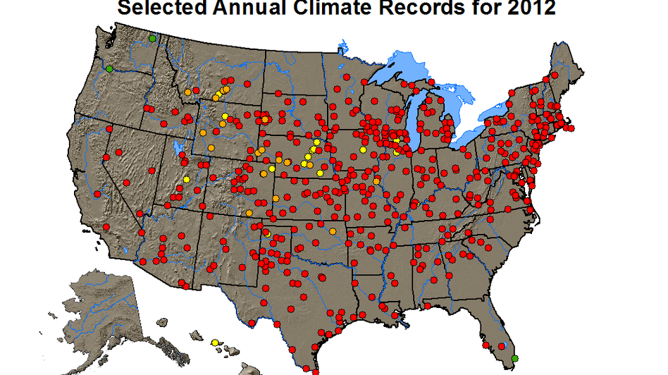 The red dots are places that last year set records for average annual high temperatures. (NOAA)