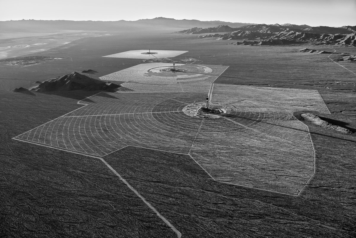 Before heliostat installation had begun on Solar Field Three. Interstate 15 and the Primm Valley Gold Club are in the distance to the left. October 2012.