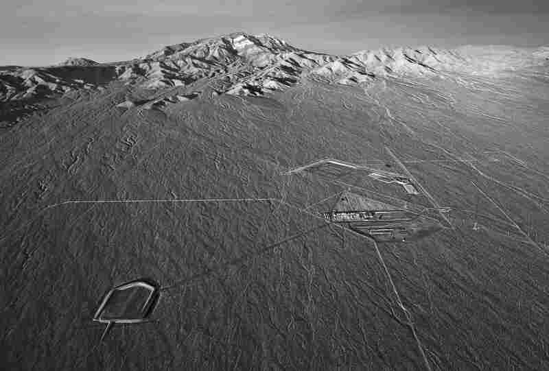 Aerial view toward Clark Mountain of groundwork for future power block of Solar Field One. ISEGS, Mojave Desert, Calif., USA, Jan. 14, 2011.