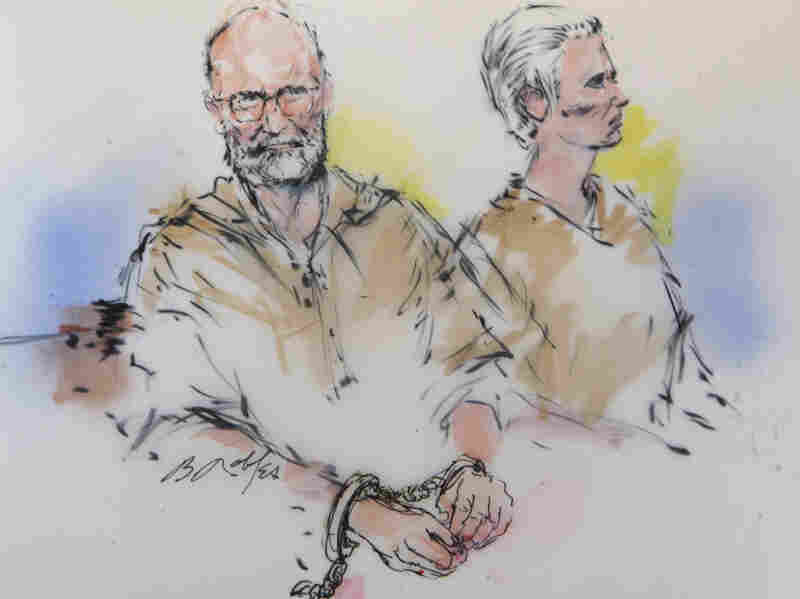 "In this courtroom sketch, James ""Whitey"" Bulger and his girlfriend, Catherine Greig, are arraigned in a federal courtroom in Los Angeles in 2011."