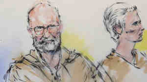 """In this courtroom sketch, James """"Whitey"""" Bulger and his girlfriend, Catherine Greig, are arraigned in a federal courtroom in Los Angeles in 2011."""