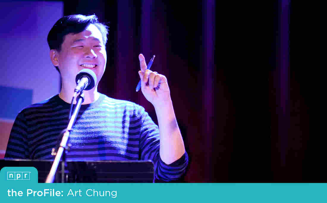 Ask Me Another Puzzle Guru Art Chung during a live taping at The Bell House.