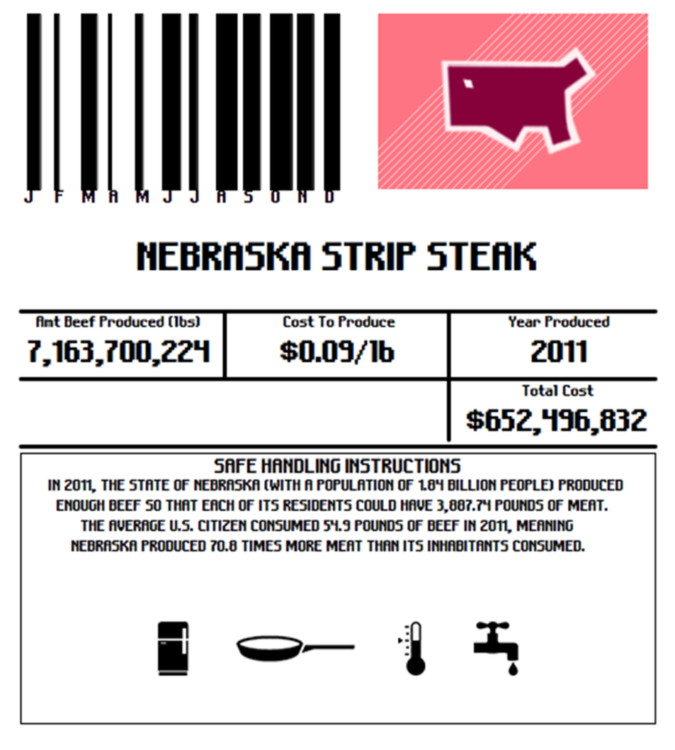 "Each label gives the total pounds of beef produced annually in the state, the cost to produce that much beef and how much steak each person in that state would need to eat for the beef to be consumed ""locally."""