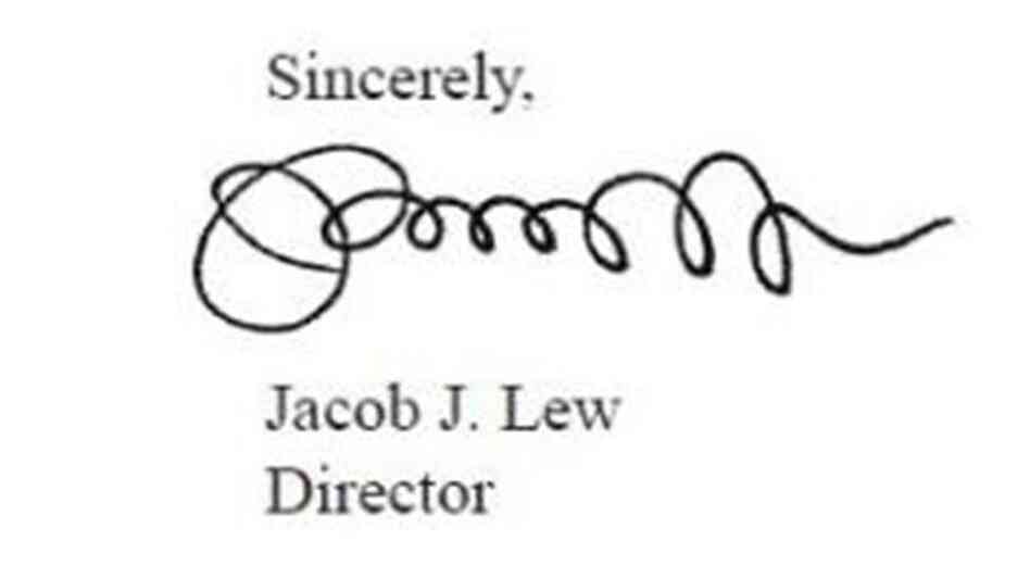 "Jacob ""Jack"" Lew's signature,"