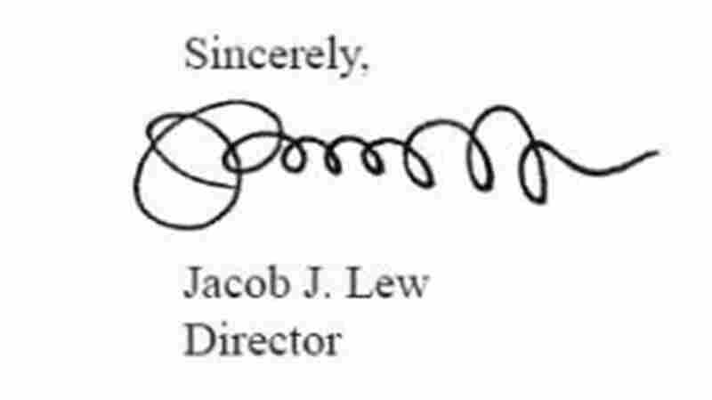 """Jacob """"Jack"""" Lew's signature, on the 2012 """"Mid-Session Review"""" of the federal budget. He was director of the Office of Management and Budget at the time."""