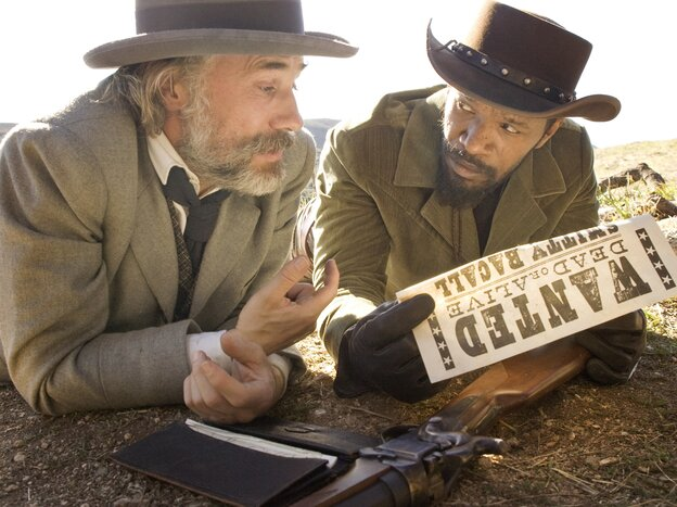 Christoph Waltz and Jamie Foxx in Quentin Tarantino's Django Unchained.