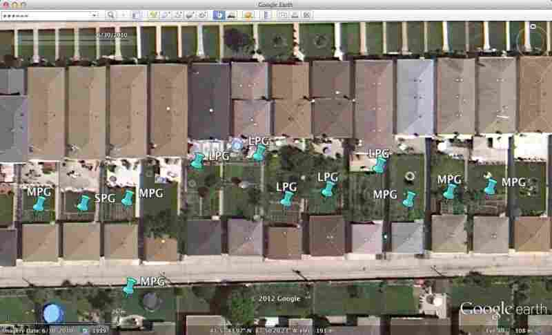 John Taylor found a cluster of backyard gardens in the Google Earth image of the far northwest side of Chicago.
