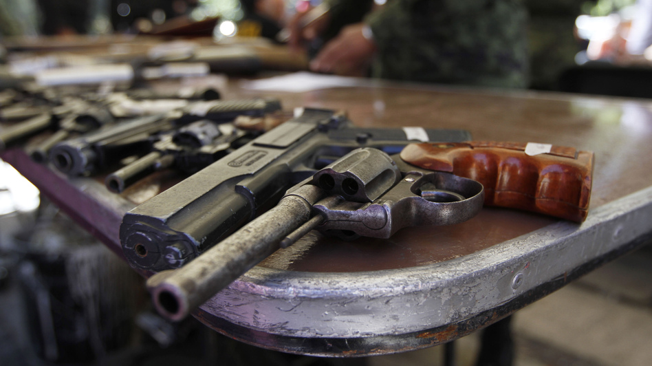 These weapons, in the Iztapalapa neighborhood of Mexico City, were handed over by their owners during a government program that accepts weapons in exchange for bicycles, computers, tablets or money. (AP)