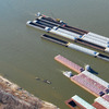 Barges last month crowded an area on the Mississippi River south of St. Louis where barges are stored, loaded and unloaded. Shippers worry that the drought-shrunken river could shut to barge traffic entirely this month.