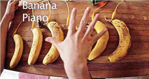 """The MaKey MaKey invention kit includes a plan for making a """"banana piano,"""" helping the Kickstarter project make it to the site's best-of-2012 list. Kickstarter says 2.2 million people pledged nearly $320 million in 2012."""