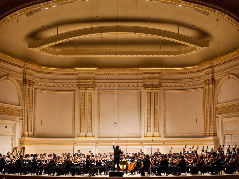 Gustavo Dudamel conducts Simon Bolivar Symphony Orchestra of Venezuela at Carnegie Hall.