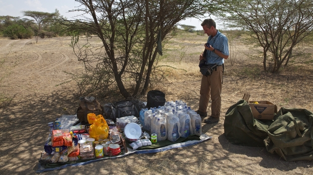 Journalist Paul Salopek, shown here with his supplies in Ethiopia, is setting out on a seven-year walk that will take him to the tip of South America. (John Stanmeyer)