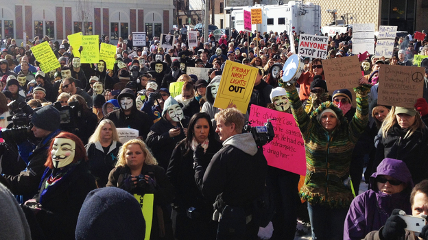 Protesters gather at the Jefferson County Courthouse in Steubenville, Ohio, on Saturday, to demand justice for a girl allegedly raped by Steubenville High School football players last August. (WKSU)