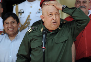 Chavez has been receiving cancer treatment since the middle of 2011. He's shown here at the presidential palace on Sept. 17, 2011, a few months after his treatment began.
