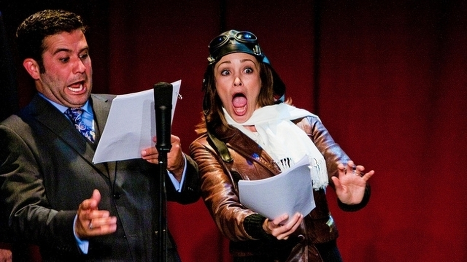 Mark Gagliardi and Autumn Reeser, as aviator Amelia Earhart, perform in The Thrilling Adventure Hour. Actors dress up and read scripts onstage in front of a live nightclub audience. (The Thrilling Adventure Hour)