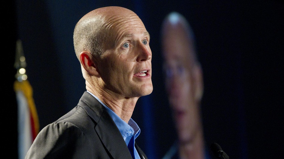 Florida Gov. Rick Scott speaks in Fort Lauderdale in May.