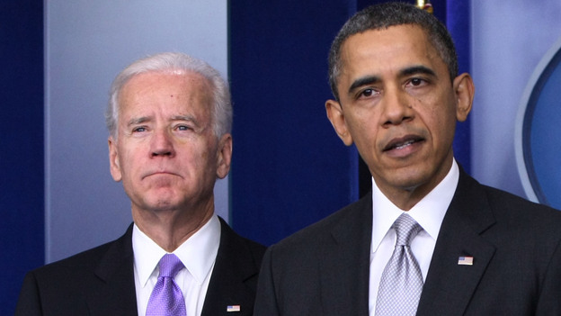 """Vice President Biden and President Obama at the White House on Dec. 19. Biden has been charged with drawing up """"concrete proposals"""" on how to reduce gun violence. (Xinhua /Landov)"""