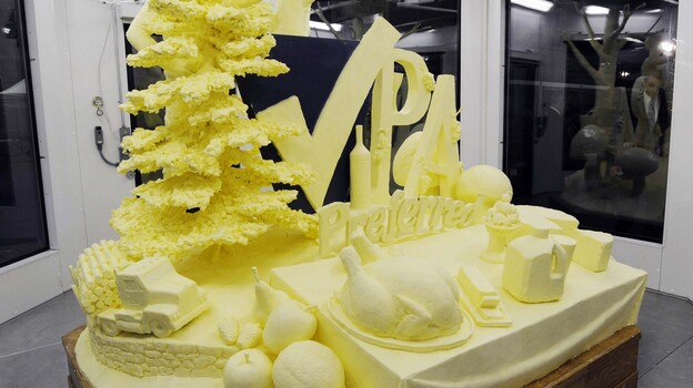 A 1,000-pound butter sculpture is unveiled at the 97th Pennsylvania Farm Show in Harrisburg last week. (AP)