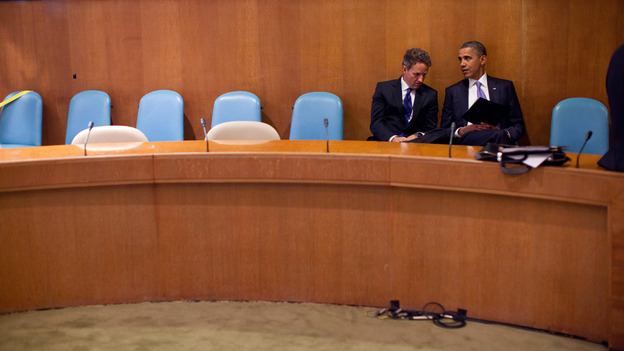 In this handout image provided by the White House, President Obama talks with Treasury Secretary Timothy Geithner at the United Nations on Sept. 23, 2010. (Getty Images)