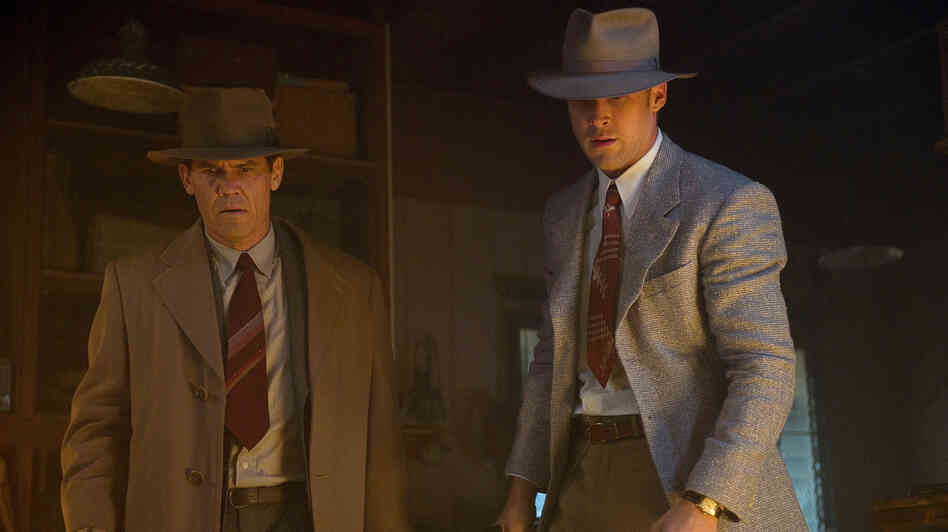 Sgt. John O'Mara (Josh Brolin) and Sgt. Jerry Wooters (Ryan Gosling) aim above and beyond the law in the noir tribute Gangster Squad.