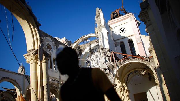 Our Lady of Assumption Catholic Church in downtown Port-au-Prince, Jan. 17, 2010. (NPR)