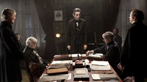 Daniel Day-Lewis (center) portrays Abraham Lincoln in the film Lincoln, which might leave audiences feeling a little more hopeful about the state of today's Congress.
