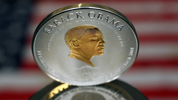 No, this isn't worth $1 trillion. It's a commemorative coin minted in the U.K. in 2008. But some have suggested the president's image should be on it if he orders up a $1 trillion coin. (Getty Images)