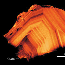 The concentric bands of the Jack Hills zircon reveal the temperature at which the crystal formed.