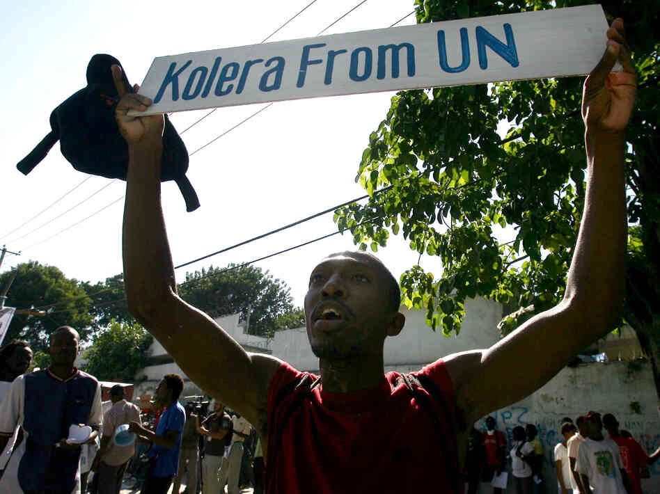 Haitians protest against the United Nations peacekeepers in Port-au-Prince in Novemb