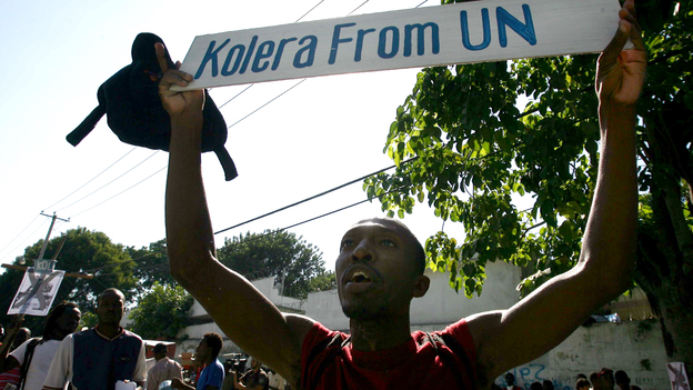 Haitians protest against the United Nations peacekeepers in Port-au-Prince in November 2010. (AFP/Getty Images)