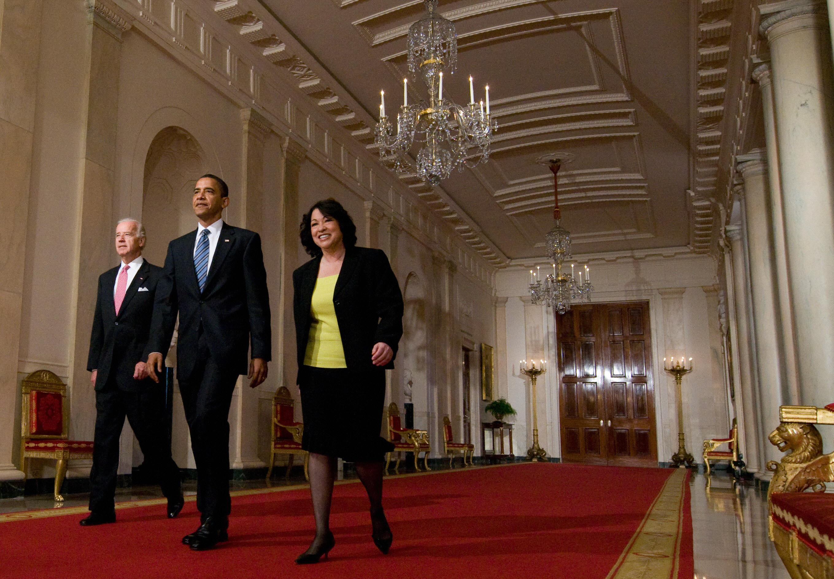 President Obama walks with Sotomayor and Vice President Joe Biden at the White House before introducing her as his nominee to the Supreme Court in 2009.