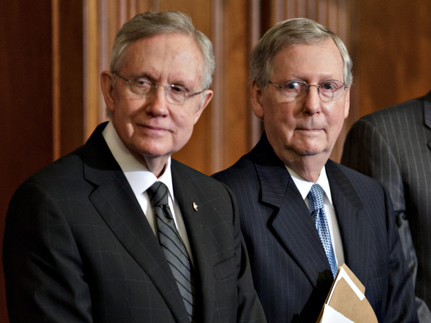 Senate Majority Leader Harry Reid, D-Nev., left, and Senate Minority Leader Mitch McConnell, R-Ky., have talked about a deal to change the Senate's filibuster rules.