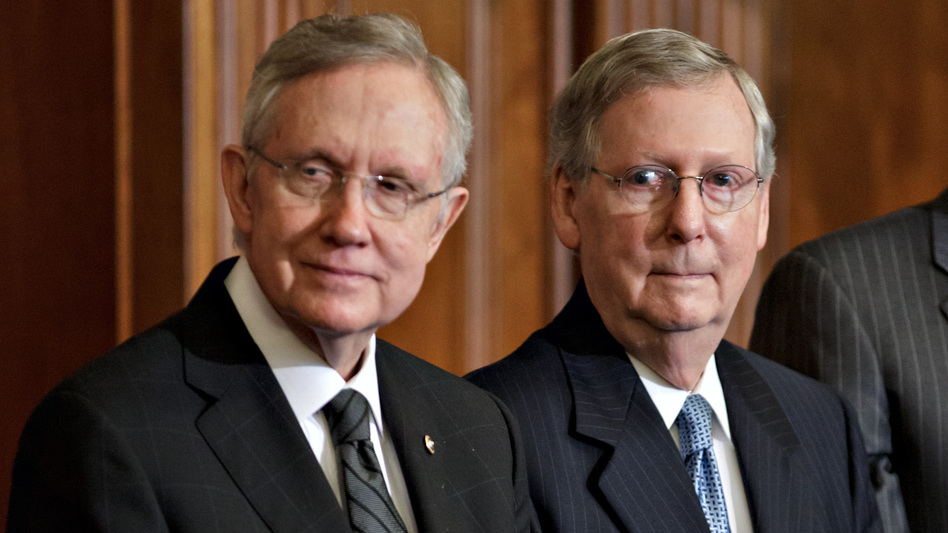Senate Majority Leader Harry Reid, D-Nev., left, and Senate Minority Leader Mitch McConnell, R-Ky., have talked about a deal to change the Senate's filibuster rules. (AP)