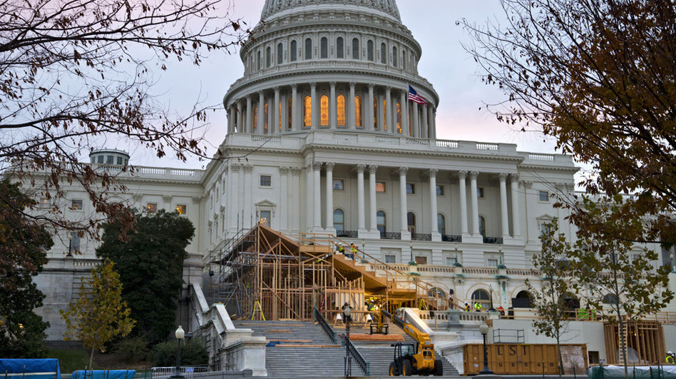 Construction was under way on Capitol Hill in November for President Obama's Inauguration Day ceremonies. (AP)