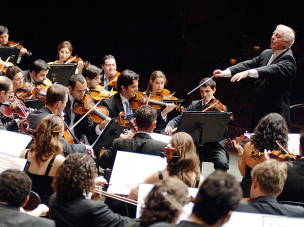 Daniel Barenboim and the West-Eastern Divan Orchestra, the ensemble made up of exciting young musicians from Israel, Palestine and across the Arab world.