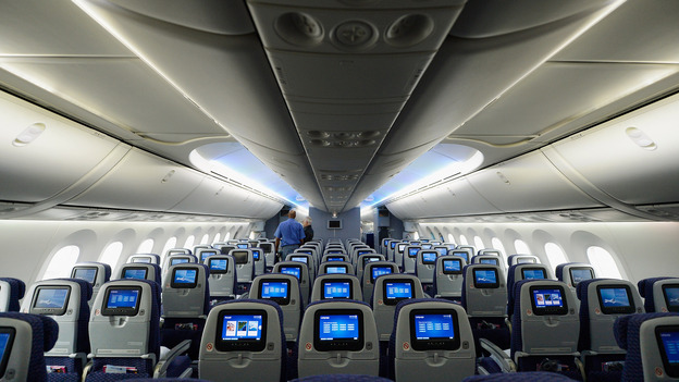 The interior of a United Airlines Boeing 787 Dreamliner.
