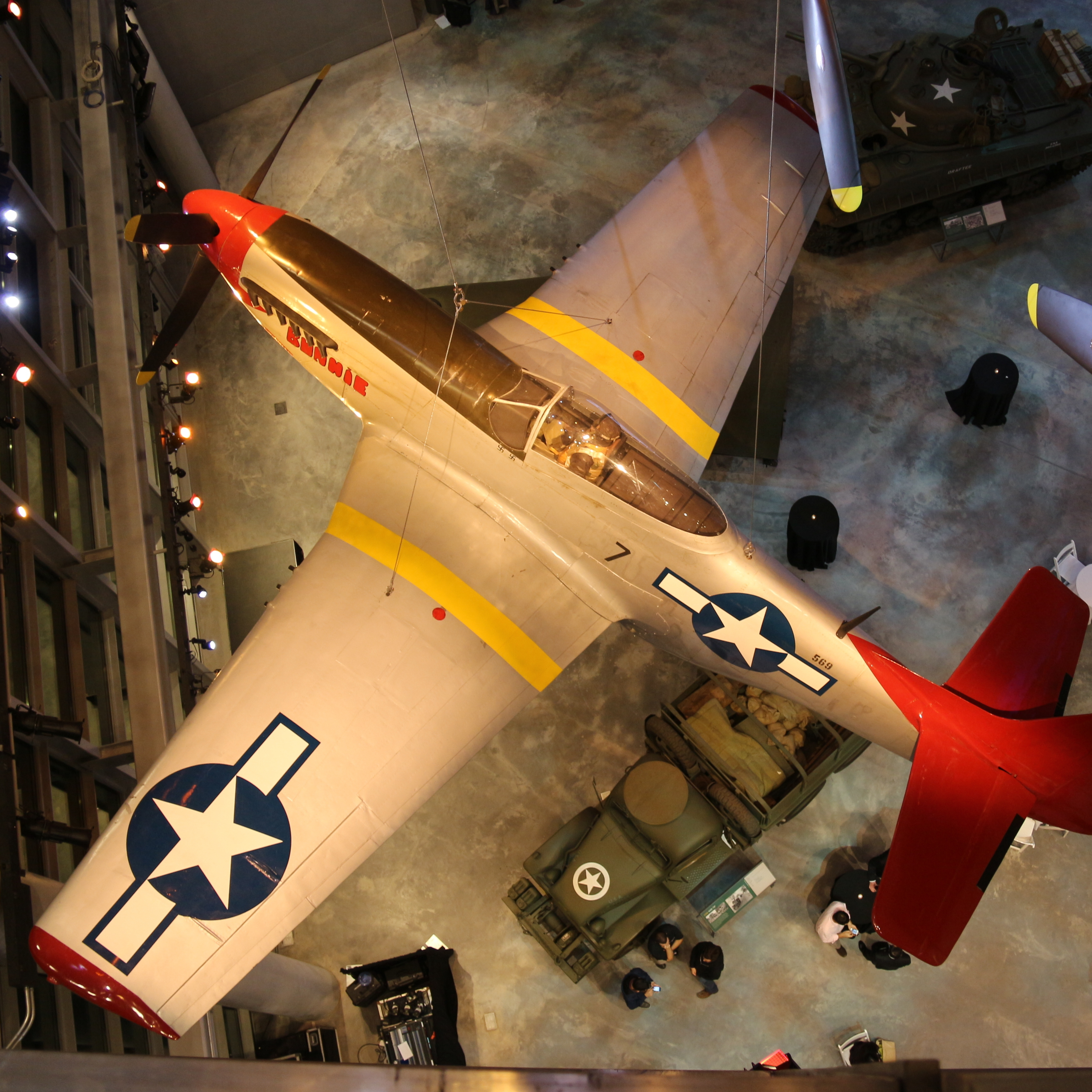 Six World War II airplanes hang from the 96-foot-high ceilings in the U.S. Freedom Pavilion.