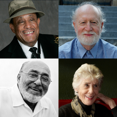 The 2013 NEA Jazz Masters. From left to right: Mose Allison, Lou Donaldson, Lorraine Gordon, Eddie Palmieri.