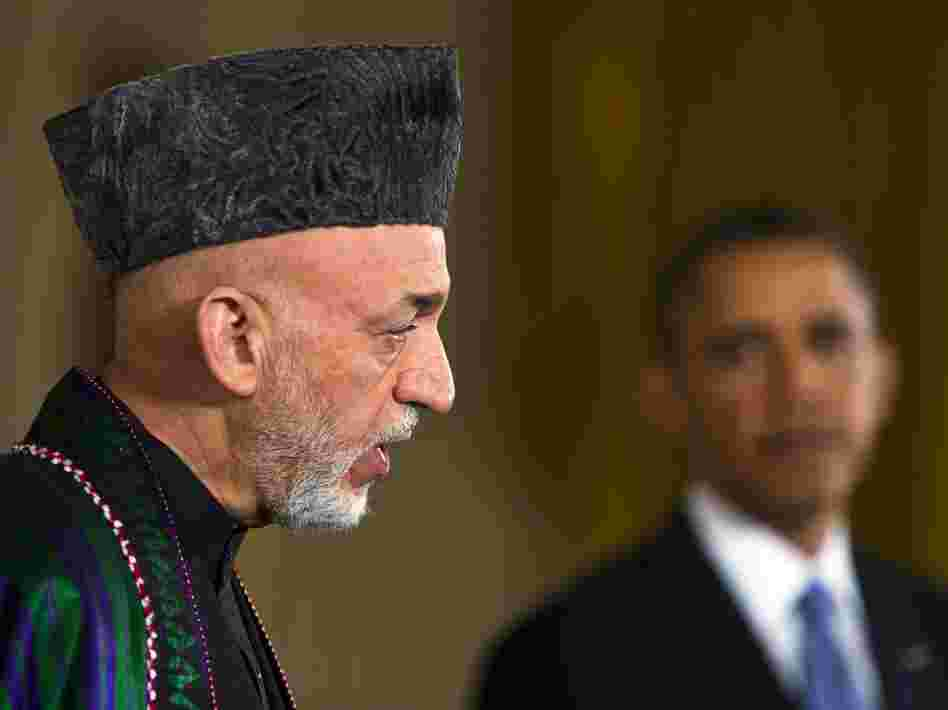 Afghan President Hamid Karzai and President Obama during Friday's news conference at the White House.