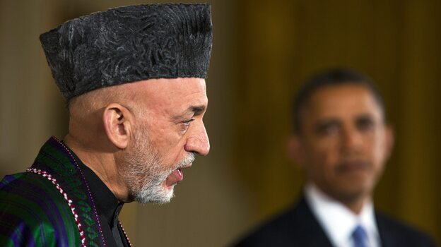 Afghan President Hamid Karzai and President Obama during Friday's news conference at the White House. (EPA /LANDOV)