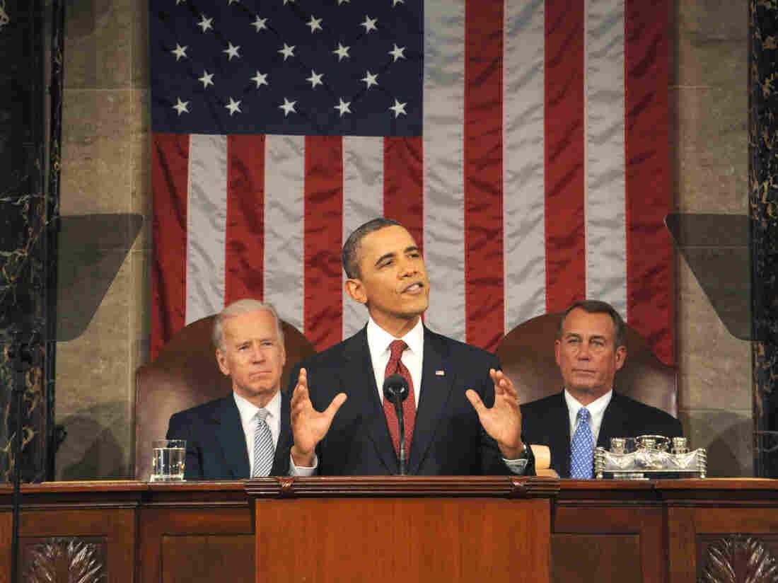 President Obama, Vice President Biden (at left) and House speaker John Boehner at the 2012 State of the Union address.